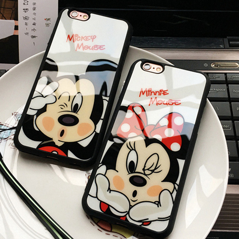Fashion Cartoon Lovers Mickey Mouse Minnie cover soft TPU silicon Phone case For font b iPhone