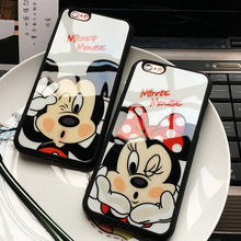 Fashion Cartoon Lovers Mickey Mouse Minnie cover soft TPU silicon case For iPhone 7 SE 5