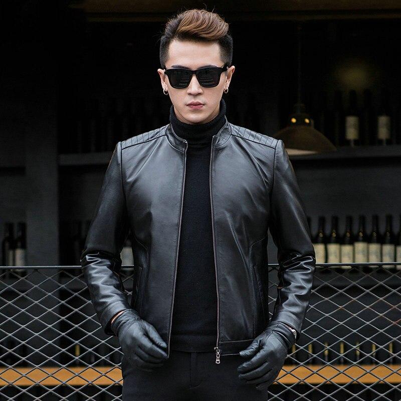 AYUNSUE 100% Real Sheepskin Coat Mens Genuine Leather Jacket Short Slim Jackets For Men Outerwear jaqueta de couro MF043