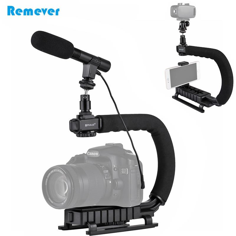 C-shaped Handheld Stabilizer Bracket+Microphone+Ball Head Adaptor Mount For Canon Nikon DSLR GoPro Camera DV Phones Recording аксессуары для фотостудий c dslr dv