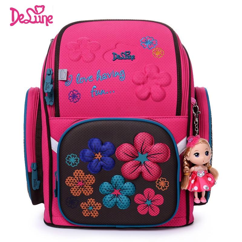 Delune Flowers Pattern Children Backpack Orthopedic School Bags Grade 1-5 Students Floral Kids School Satchel Mochila Infantil