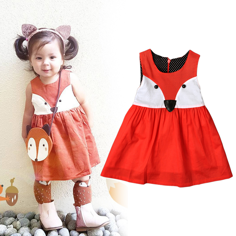 b6078f316cfdd 2017 Retailer Spring Summer Sweet Toddler Baby Girls Fox Style Cotton Dress  Ruffles Casual Fashion Dresses Red Easter Dress DS26