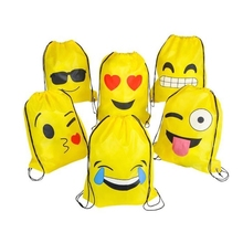 Emoji Drawstring Backpack Bags 12 Pack Cute Assorted Emoticon Party Favors