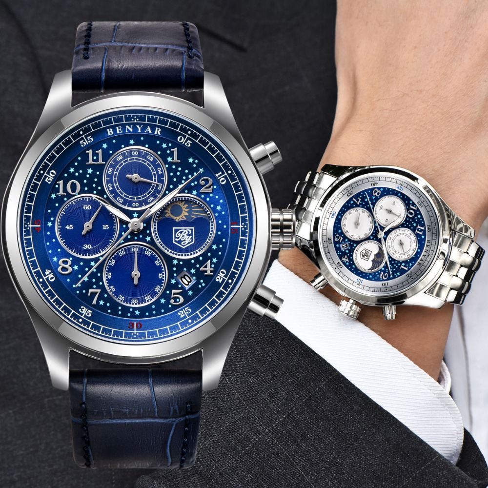 BENYAR Men Watch Hodinky Clock Quartz Blue Waterproof Sport for Dial Male Relogio Masculino