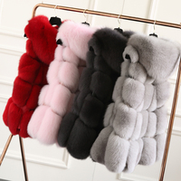 FURSARCAR New Fashion Natural Fur Real Fox Fur Vest For Women Jacket 2018 70cm Long Warm Fox Fur Coat With Fur Hood