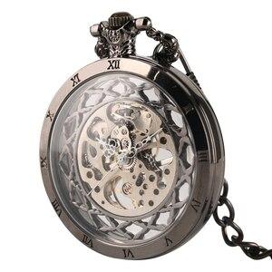 Image 3 - Cuerda a mano Reloj de bolsillo mecánico Steampunk reloj de nuevo diseño de la marca de lujo de moda hueco relojes para hombre mujer montre femme