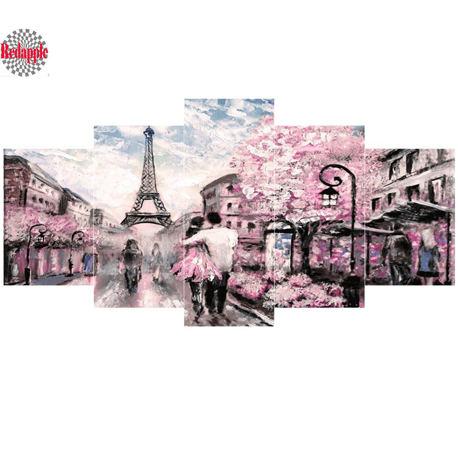 5pcs sets Paris Tower Diamond embroidery Landscape DIY diamond painting couple street Picture Of Rhinestone 5d mosaic Decor Home