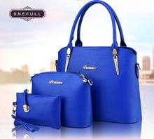 Women Handbags Leather Handbag Handbag+Purse+Messenger Bag 3pcs/ Set