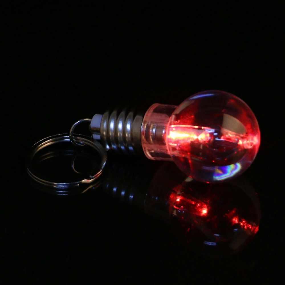 1Pc Mini เปลี่ยนสีความคิดสร้างสรรค์หลอดไฟ LED Light Key Chain แหวน Night light
