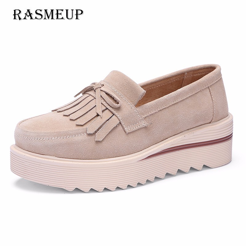 RASMEUP Genuine   Suede     Leather   Women Platform Flats 2018 Tassel Slip On Flat Women Sneakers Casual Woman Shoes Creepers Footwear
