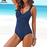Vintage Women One Piece Swimsuit Female Retro Swimwear Solid Monokini Cover Belly Bodysuit Maillot De Bain