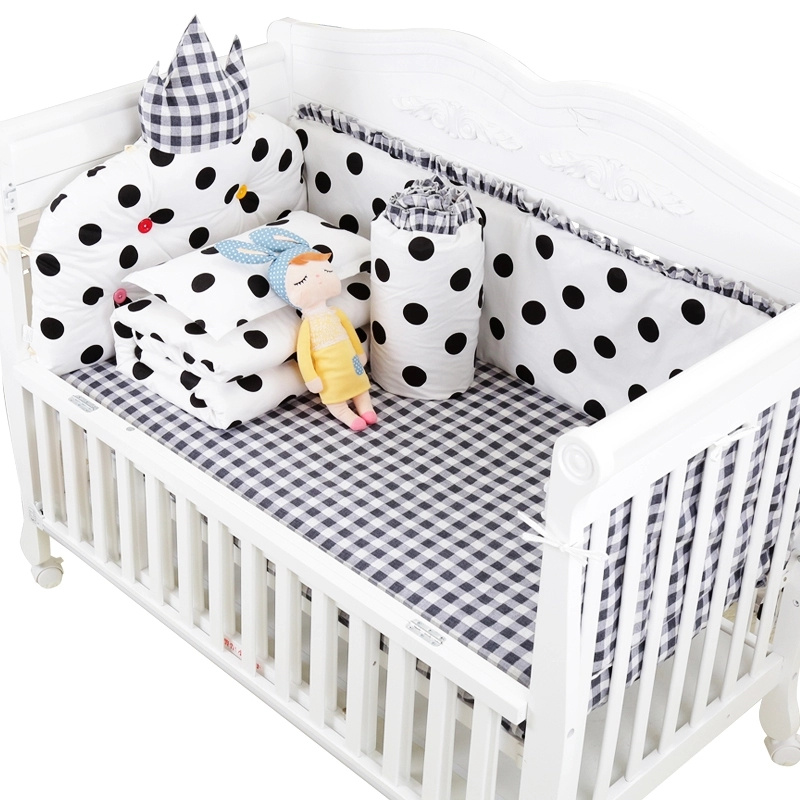 7 pcs Classic Black White Design Baby Cot Bedding Set Detachable and Washable Baby Bed Linens Full Set with Filling Multi Colors