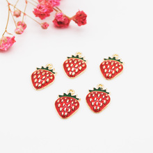 20pcs/pack Lovely Fruit Strawberry Enamel Pendants Charms 10*16MM Craft DIY Jewelry Findings Accessories Handmade