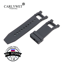 CARLYWET RU STOCK 28mm Wholesale New Black Strap Waterproof High Quality Rubber Replacement Watch Band Belt