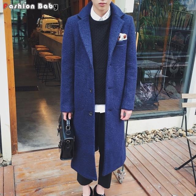 Men's X-long Blue Woolen Trench Coat Slim Fit Fashion Autumn Winter Brand Warm Outwear Coats 2016