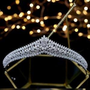 Image 2 - Asnora מדהים גבישי נסיכת נזר nupcial כלה מצנפות כלה שיער אביזרי coroa דה noiva
