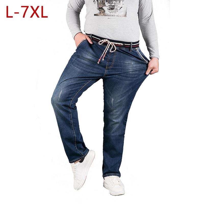 L-7XL Plus Size Man Denim Pants Elastic Brand High Elastic Jeans Pantalon Hombre Casual Men Spring Autumn Trousers HLX15