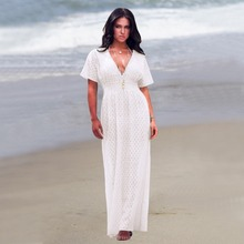 Summer Womens Beach Wear Cover up Swimwear Bikini Lace Floral Long Maxi Dress