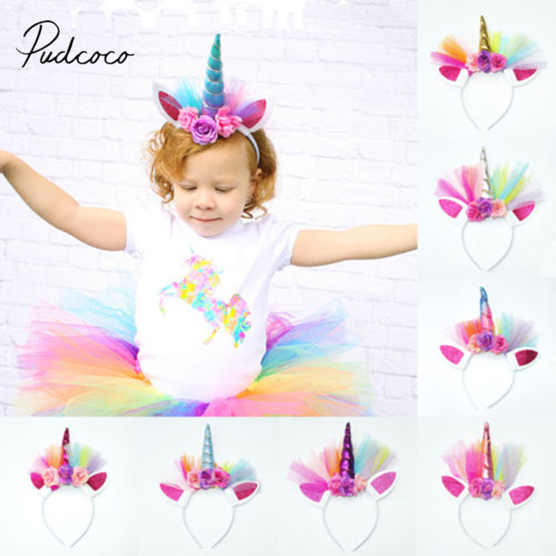 2018 Brand New Cute Toddler Kid Baby Girls Boys Unicorn Floral Horn Head Party Hair Headband Fancy Cosplay Hairband Kids Gifts Home