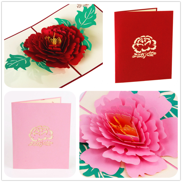 Aliexpress Com Buy Home Utility Gift Birthday Gift: 3D Peony Handmade Pop Up Card Greeting & Gift Card In Red