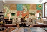3d stereoscopic wallpaper photo wallpaper Pastoral cute retro butterfly box collage Home Decoration