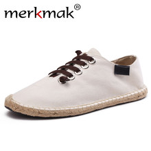 merkmak Mens Shoes Casual Male Breathable Canvas Shoes Men Chinese Fashion 2019 Soft Slip On Espadrilles For Men Loafers(China)