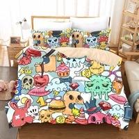 Anime Sugar Skull Bedding Kids Duvets And Linen Sets Bed Sheets Kawaii Monster Queen Size Bedding Set Pillowcase Duvet Cover F