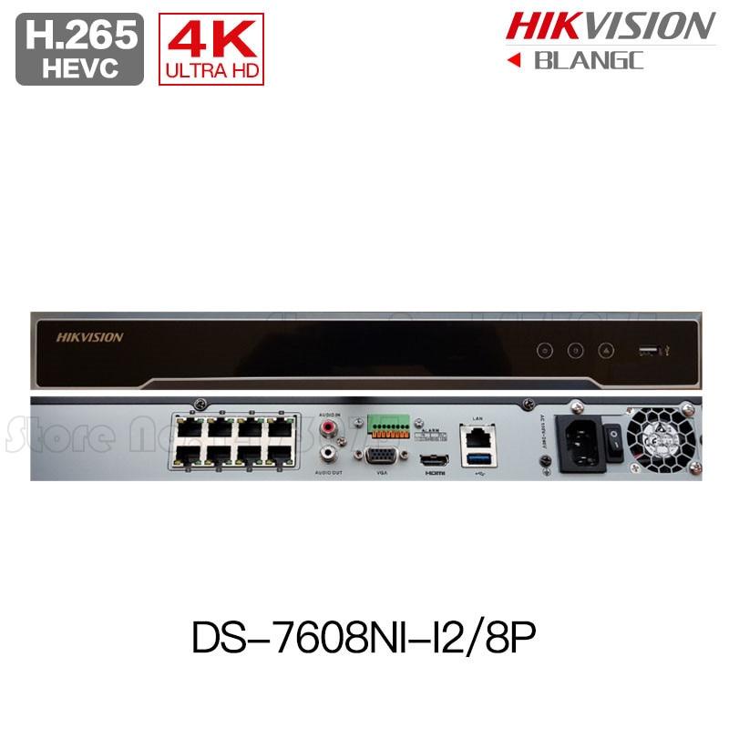 Hikvision DS-7608NI-I2/8P 12MP H.265 4K POE NVR 8CH Embedded Plug & Play 4K NVR original English 4pcs hikvision surveillance camera ds 2cd2155fwd i 5mp h 265 dome cctv ip camera hikvision nvr ds 7608ni i2 8p 8ch 8ports poe