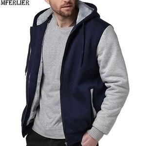 Image 2 - Winter Herfst Mannen Patchwork Sweatshirts Warme Fleece Parka Hooded Hoodies Dikke Grote Maat 8XL 9XL 10XL Oversize Hoody Jas Blauw