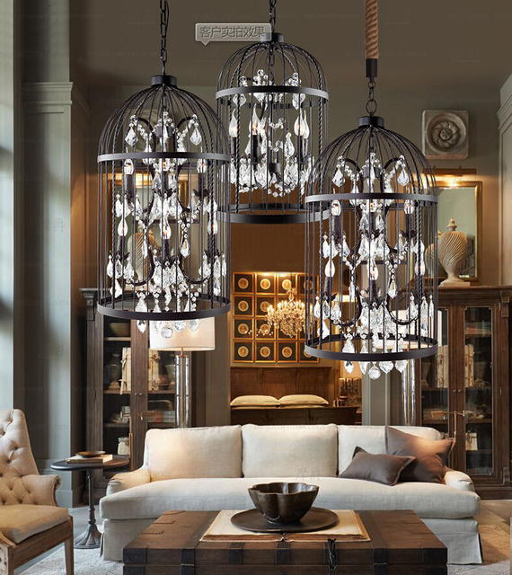 Free Led Country Retro Iron Cage Crystal Chandelier Light Pendant Lamps Wrought Birdcage