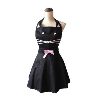 الكرتون القط لطيف امرأة سوداء مطبخ المئزر القطن نادلة صالون تصفيف الشعر مريلة مطبخ اللباس Avental دي Cozinha Divertido