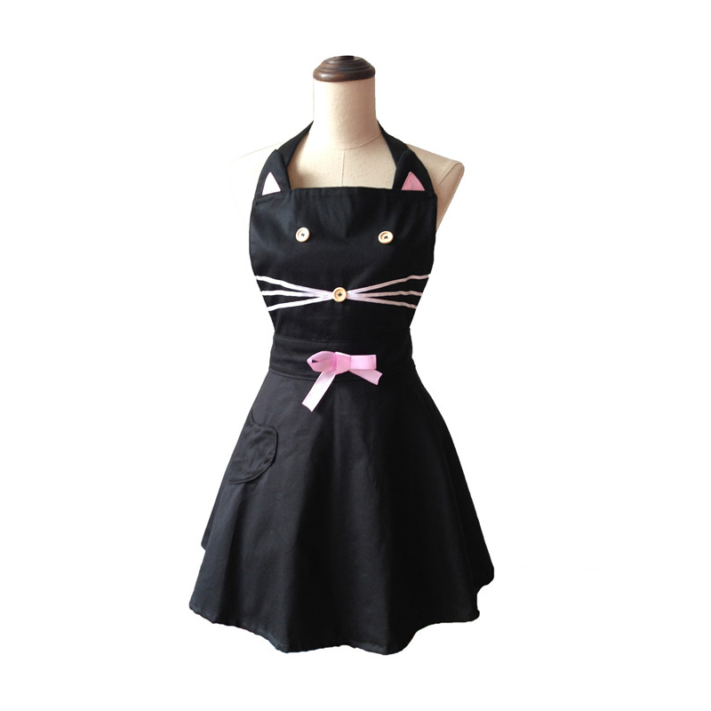 Kartun Cat Cute Black Woman Kitchen Apron Cotton Waitress Salon Hairdresser Cooking Apron Dress Avental de Cozinha Divertido