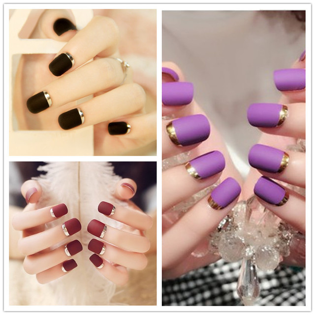 Fashion Classical  Pcs Short False Nails Full Metal Side French Style With Box Nair Art