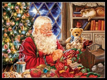 Needlework for embroidery Crafts DIY DMC - Counted Cross Stitch Kits 14 ct Oil painting - Santa Sew Sweet