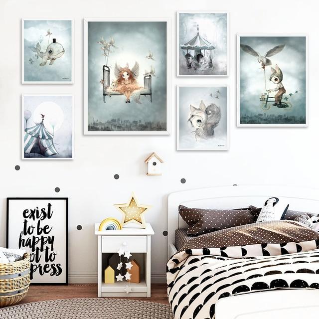 צבעי מים ציפור אופניים ארנב ילד קריקטורה לווייתן מלאך בנות בד קישוט ציור בעלי החיים אמנות פוסטר ילדים תינוק משתלת חדר
