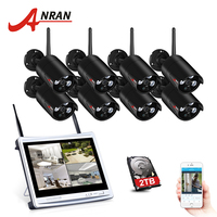 ANRAN 2017 NEW 8CH Wireless Surveillance System 12 LCD Screen Wifi NVR 720P HD H 264