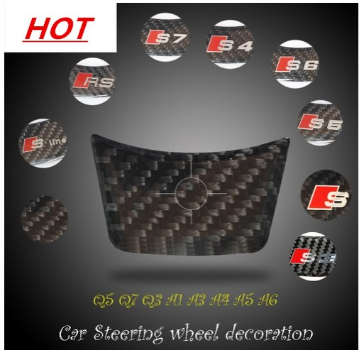 Car Styling 3D Carbon Fiber Sticker Steering Wheel S line RS Emblem Badge Decal for Audi A1 A3 A4 A5 A6 Q3 Q5 Q7 S3 S4 S5 S6 S7 car styling 100% carbon fiber steering wheel paddle shifter extension trim for audi a3 a4 b9 a5 q7 tt tts q2 s3 s4 2017
