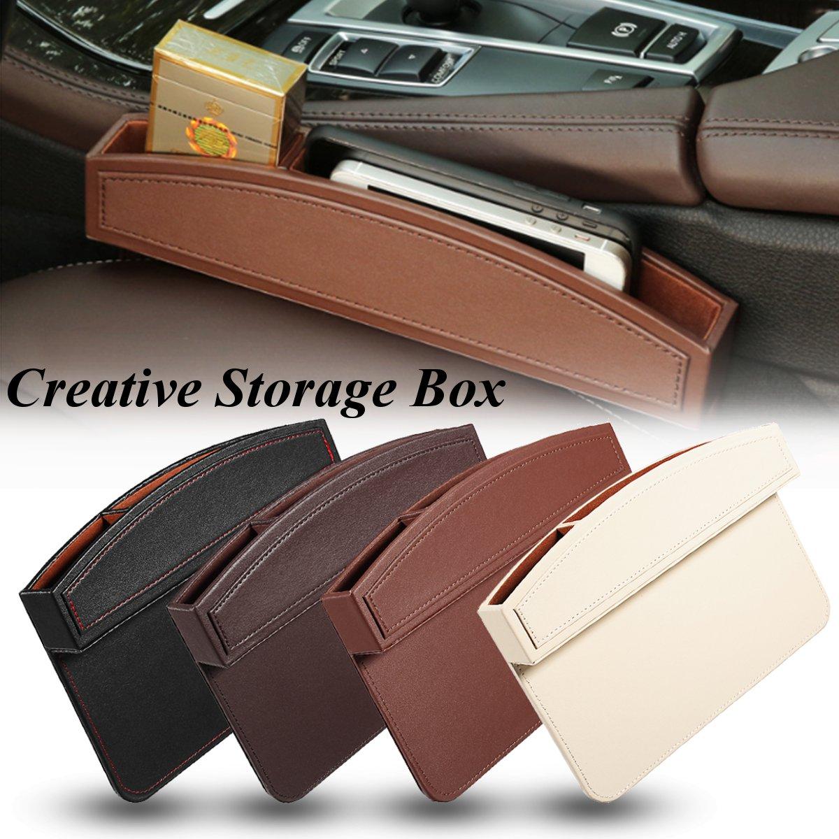1pc 2pcs PU Leather Car Seat Crevice Gap Storage Box Pocket Organizer Phone Holder Car Seat Side Gap Pocket Universal