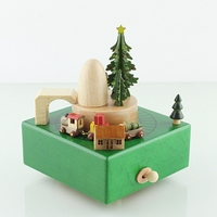 Modern Home Decor Christmas Gift Wooden Round Tree Car House Wood Music Box For Kids Toy