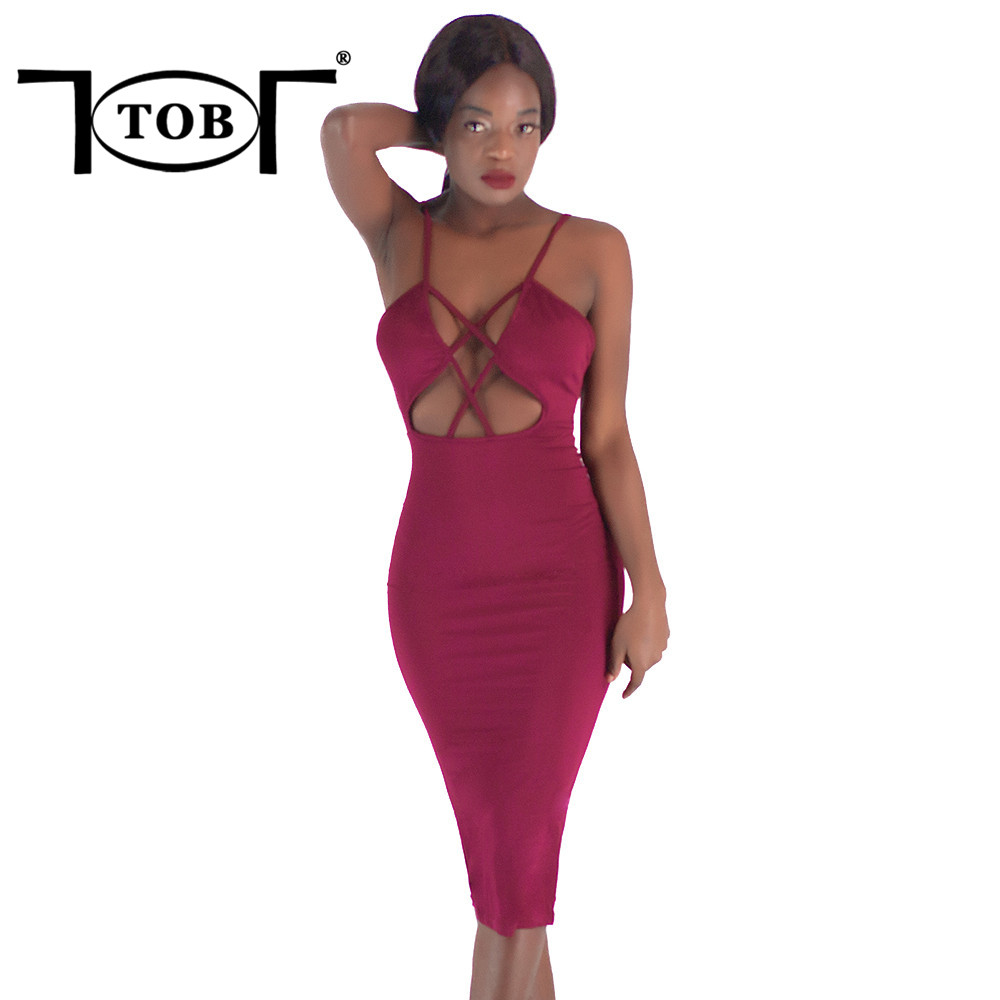 Tob Sexy Spaghetti Strap Hollow Out Backless Dress 2018 -1941