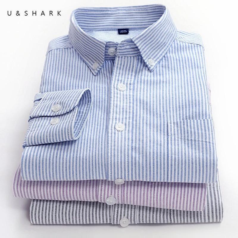 U&SHARK 2018 Casual Striped Shirt Men Long Sleeve Slim Fit Mens Dress Shirts Brand Clothing 100% Cotton Oxford Social Shirt Male