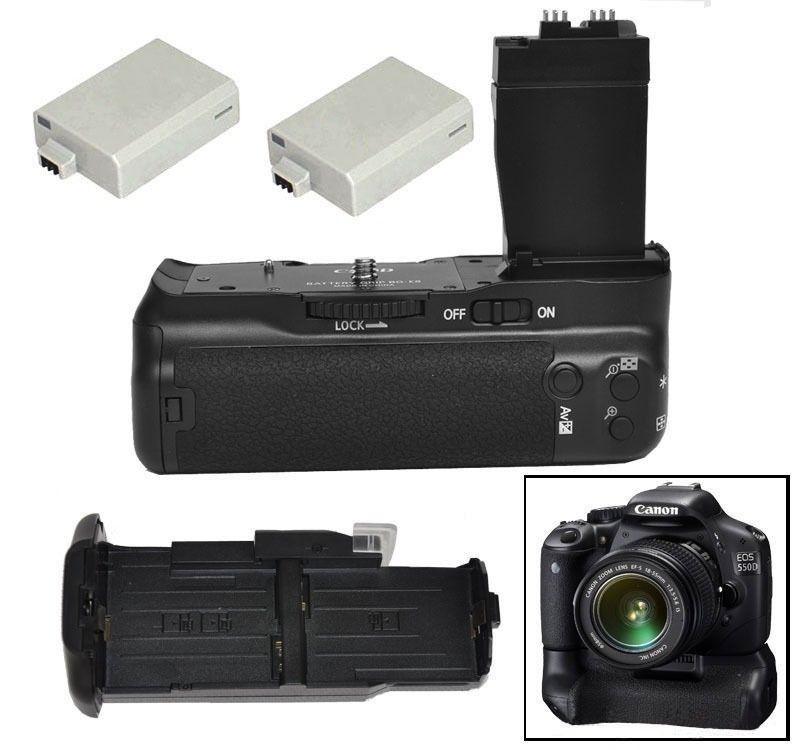 JINTU Vertical batterie obturateur support de prise en main + 2 pièces LP-E8 Kit pour Canon EOS 550D 600D 650D rebelle T2i T3i T4i DSLR appareil photo comme BG-E8