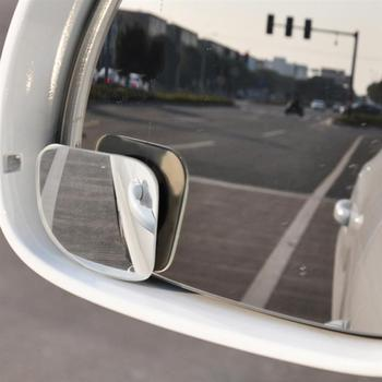 Onever 2Pcs Frameless 360 Degree Rotating Wide Angle Convex Blind Spot Mirror