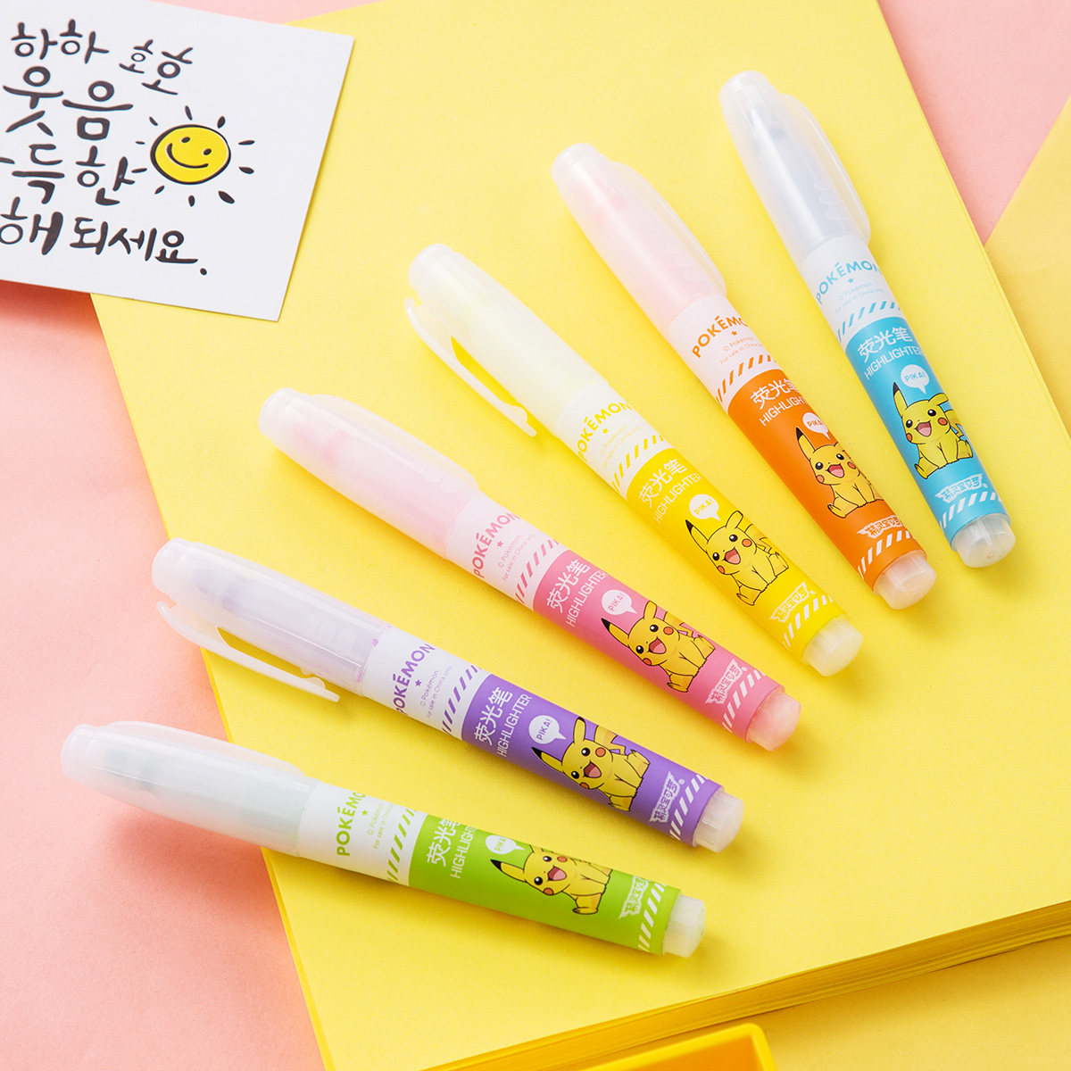 Deli 6pcs Highlighter Pokemon Invisible Ink Marker Pen Fluorescent Color Art Mildliner School Chancery Stationery Office Supply