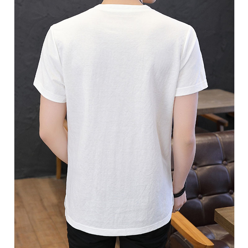Men T shirt Chinese style 2019 new summer short sleeve cotton and linen slim thin male T shirt teenage boy tops fashion T01 in T Shirts from Men 39 s Clothing