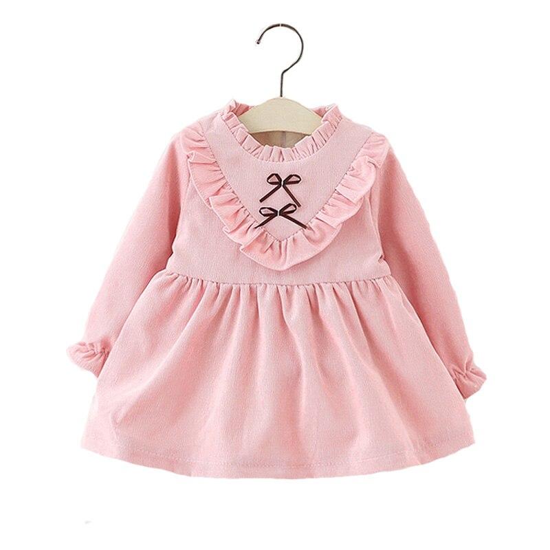 Baby Girl Dress Winter Plus Velvet 2016 New Toddler Girls Dresses Pink Long Sleeve Kids Dress -4311