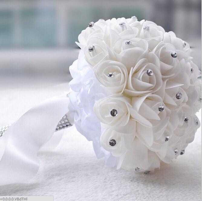 Beautiful white ivory bridal bridesmaid flower wedding bouquet beautiful white ivory bridal bridesmaid flower wedding bouquet artificial flower rose bouquet crystal bridal bouquets in wedding bouquets from weddings mightylinksfo