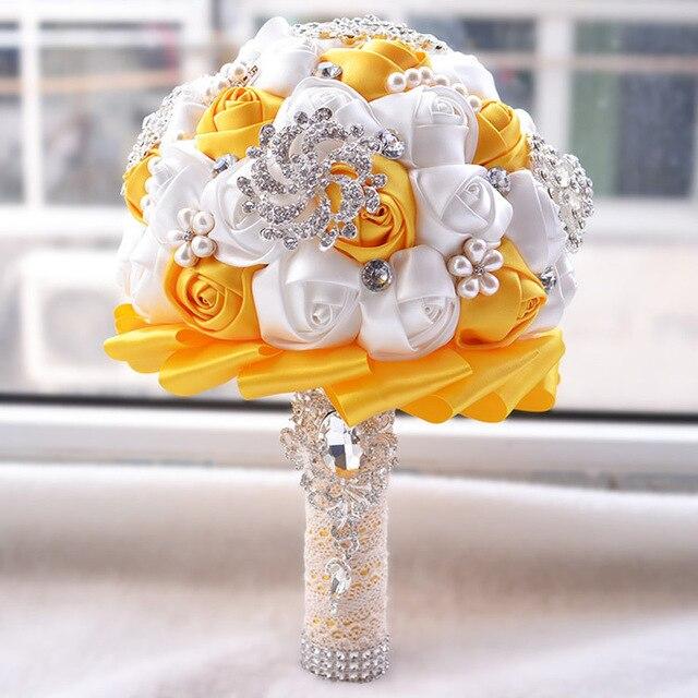Neue Mode Beste Preis Weiss Elfenbein Brosche Blumenstrauss Hochzeits