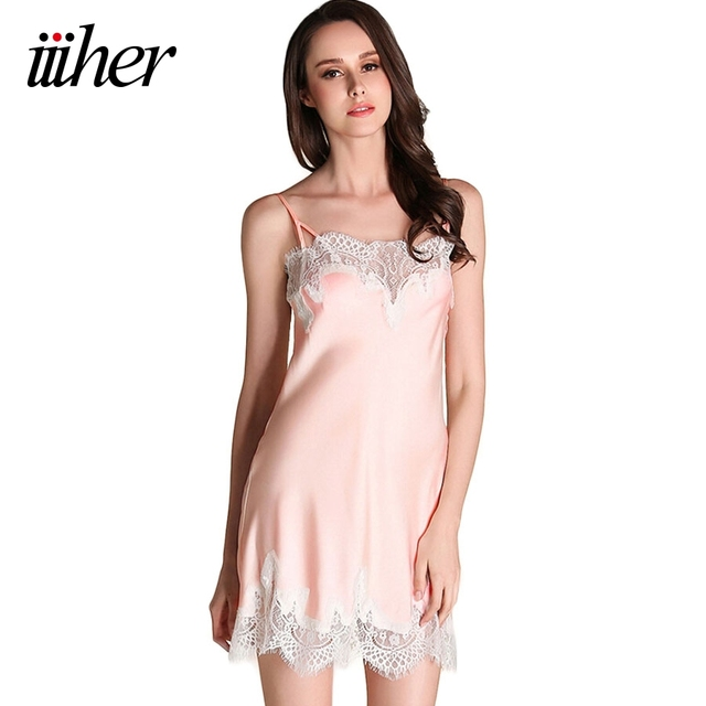 beff99b6897 iiiher Ladies Sexy Satin Night Dress Sleeveless Lace V-neck Nightgown Lace  Sleepwear Nightwear Pyjamas
