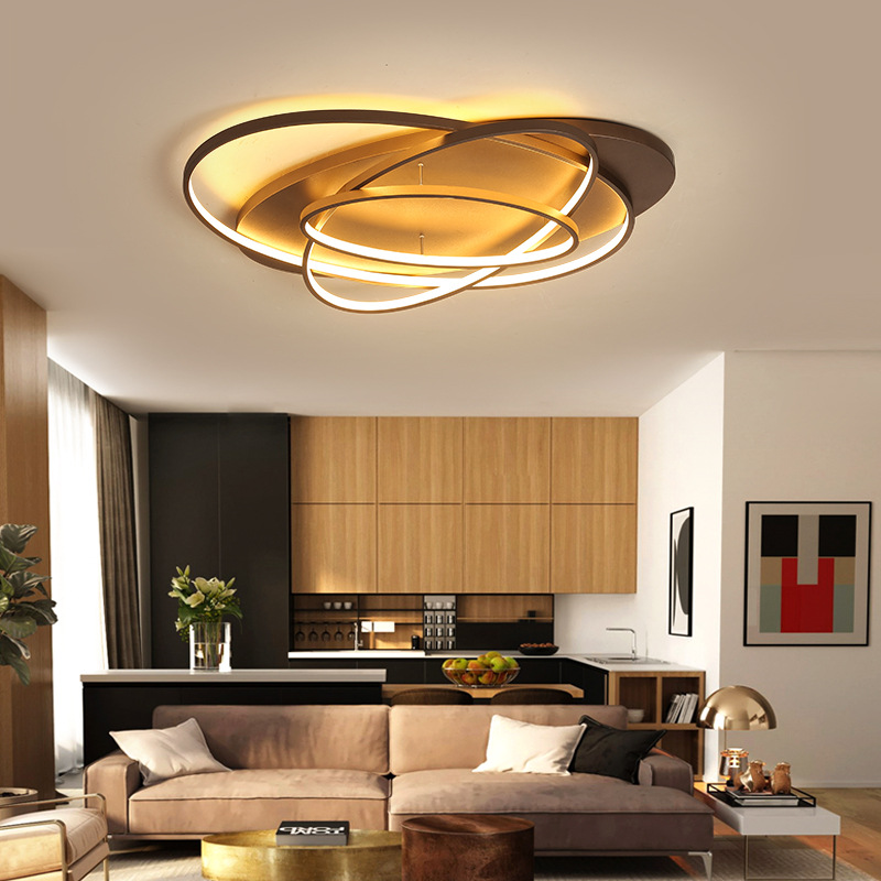 Modern Simple Brown White Led Ceiling Light Remote Control Ceiling Lamp Dining Living Room Lighting Kids Bedroom Home Fixtures Leather Bag